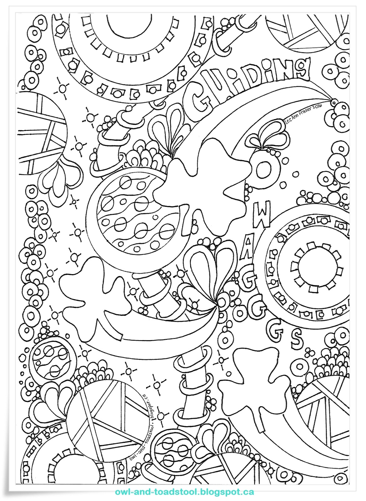 Owl Amp Toadstool Doodle Guiding Wagggs