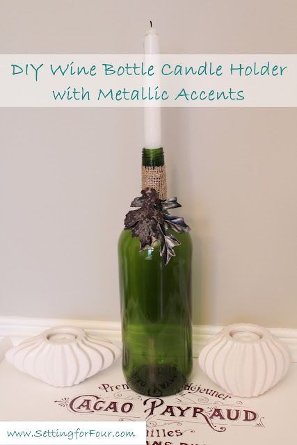See how to make this quick and easy wine bottle candle holder! Perfect home decor and entertaining idea for fall tablescapes, holiday tables, weddings and outdoor living areas.