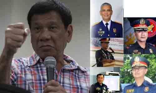 Image result for Photo of 5 Police generals named by duterte