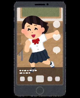 SNSが表示されたスマートフォンのイラスト(動画)