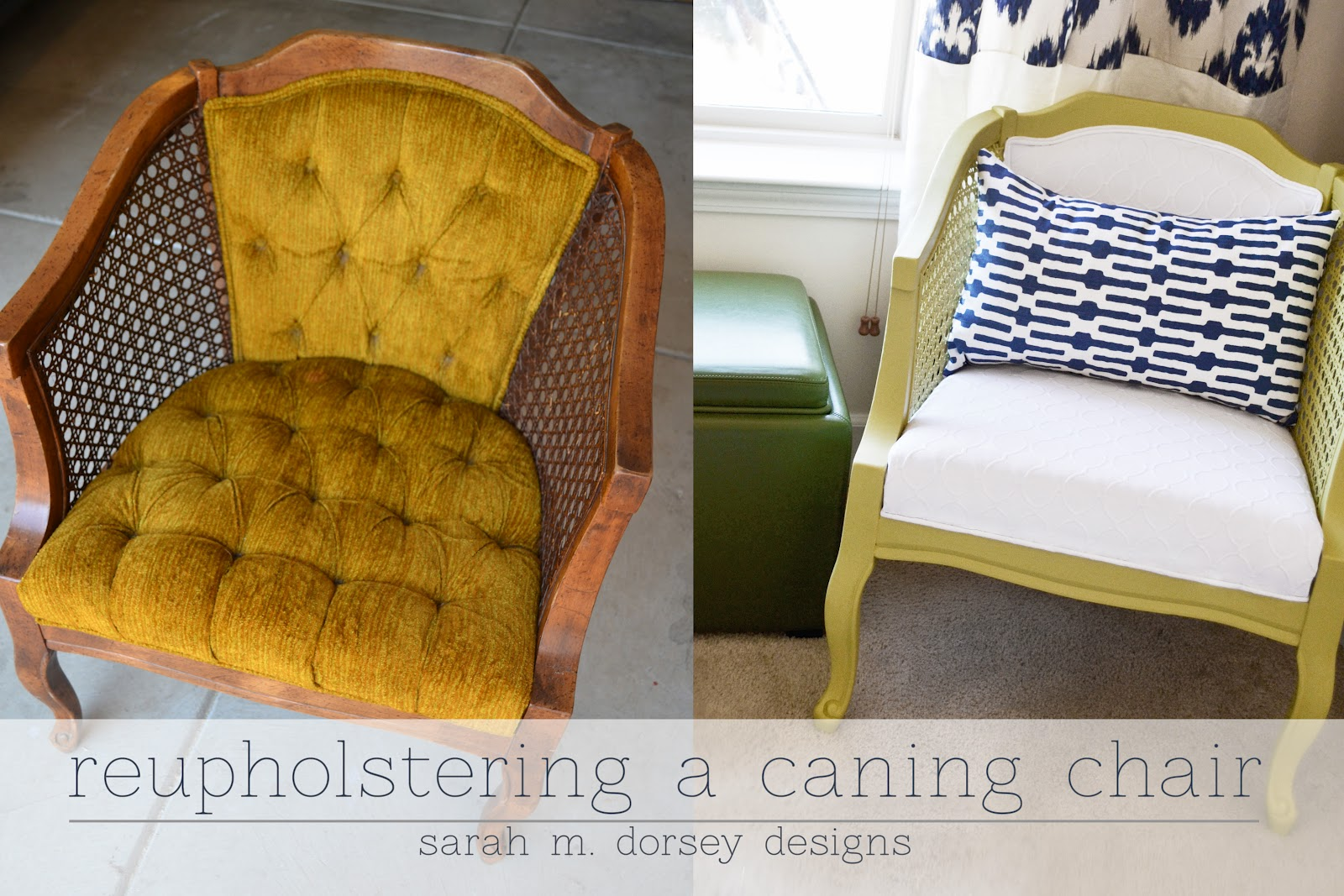 How To Replace Cane Back Chair With Fabric Folding For Shower Sarah M Dorsey Designs Chartreuse And White Caning