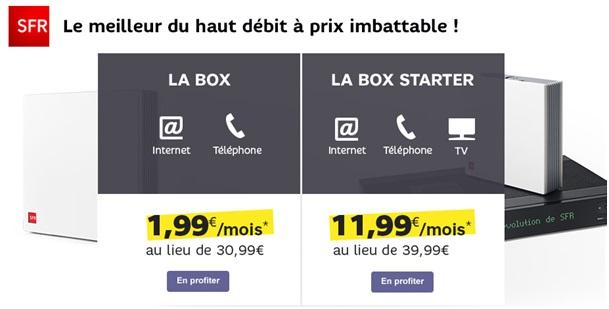 La Box et la Box Starter de SFR à partir de 1.99€ par mois sur Showroomprive.com