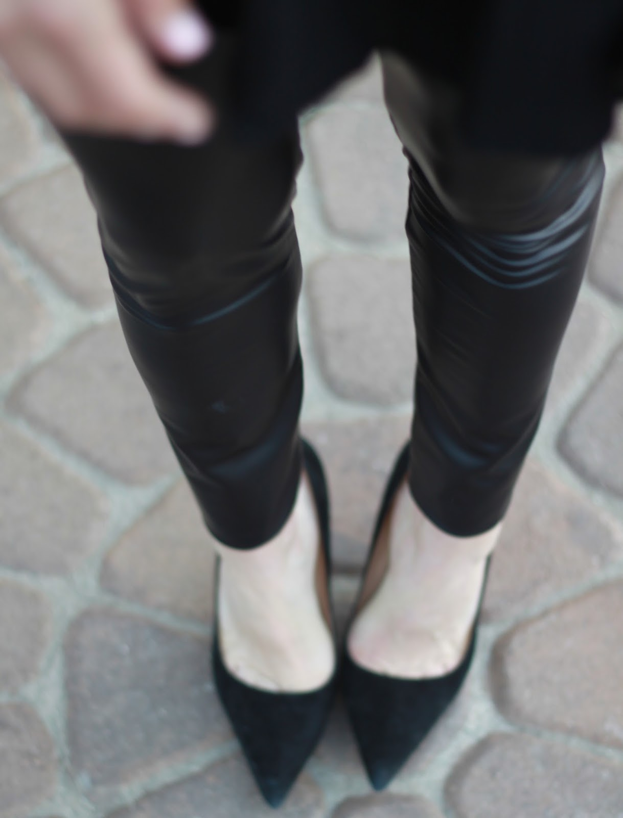 leather leggings and pumps