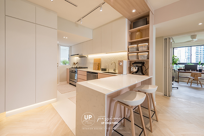 Mont Kiara Pines condo wood arch link with the kitchen open cabinet for decor