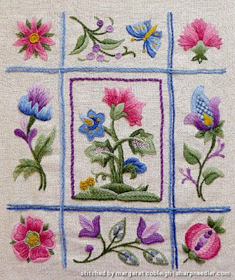 Crewel Sampler (by Elsa Williams): Completed embroidery