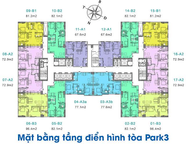 Mặt bằng điển hình tòa Park 3