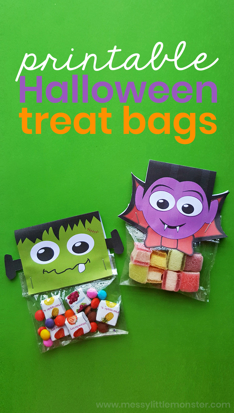 photograph regarding Halloween Crafts for Kids+free Printable titled Printable Halloween Deal with Baggage - Halloween Crafts for Young children