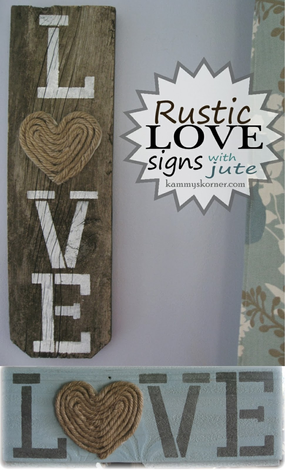 Kammy 39 s korner rustic love signs for Love sign