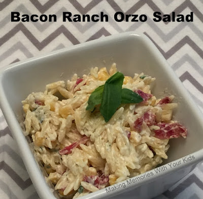 Featured Recipe | Bacon Ranch Orzo Salad from Making Memories With Your Kids #sidedish #bbq #picnic #pastasalad #recipe #SecretRecipeClub