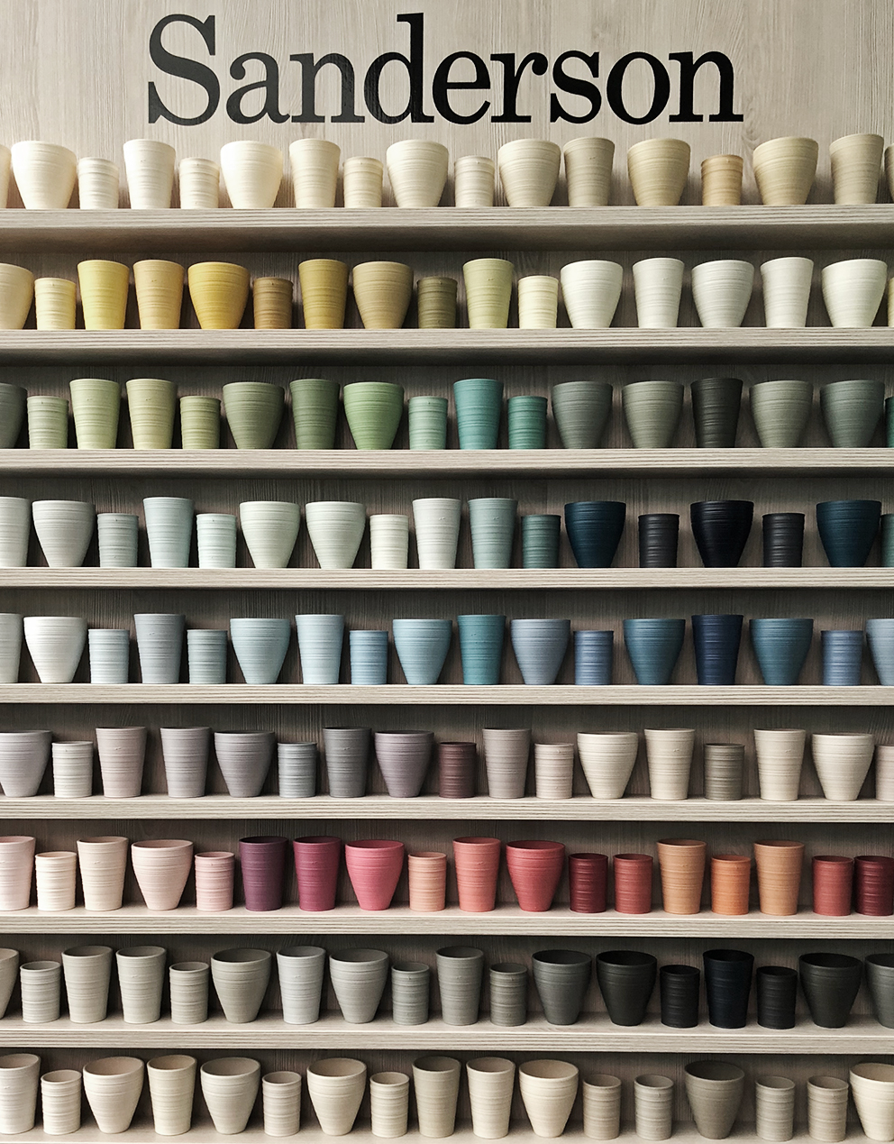 French For Pineapple Blog - Discovering Sanderson Paint - display of ceramic pots with paint colour range