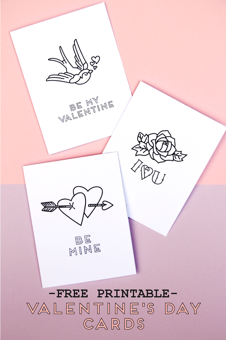 FREE PRINTABLE VALENTINE'S DAY TATTOO INSPIRED CARDS.