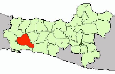 Gambar Banyumas pada peta buta Jawa Tengah