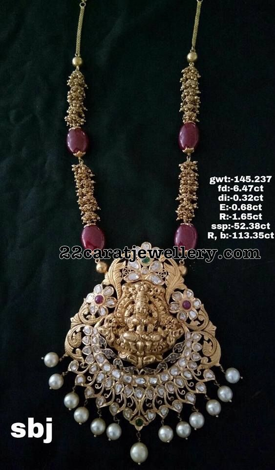 145 Grams Gold Swirls Chain Laxmi Pendant
