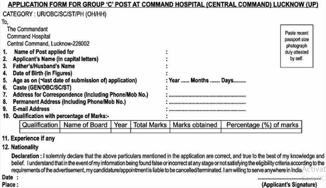 Command Hospital Lucknow Recruitment 2017 Application Form