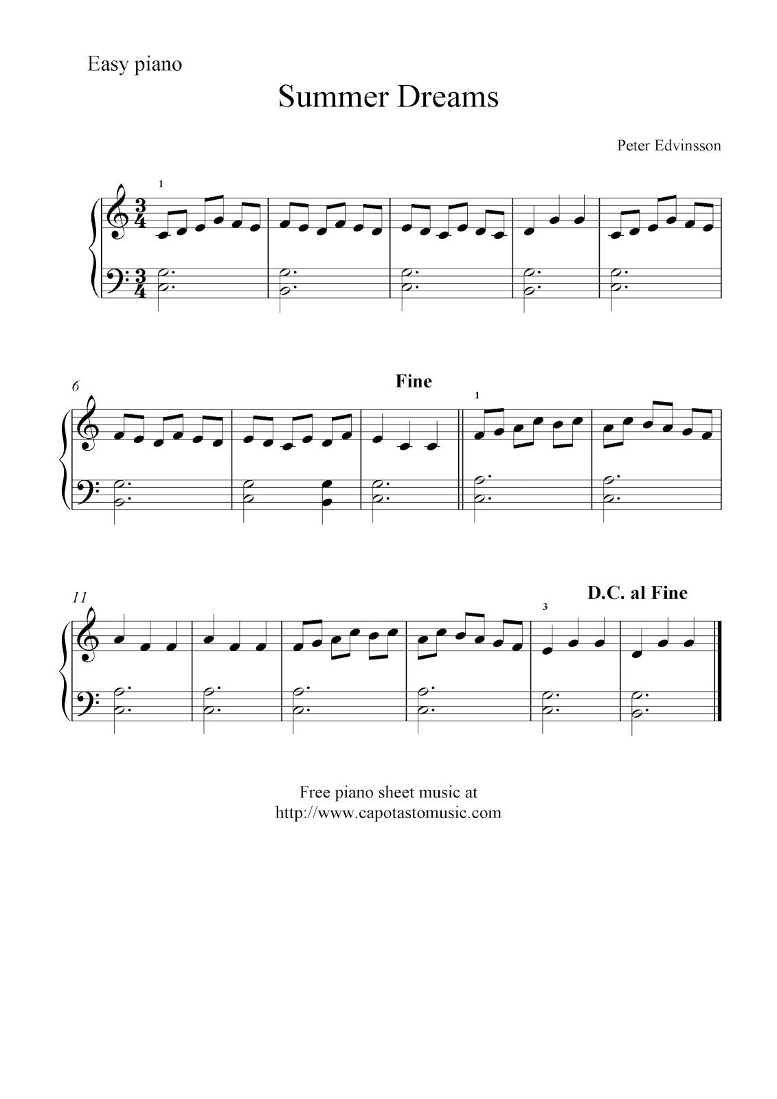 free basic piano sheet music summer dreams