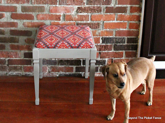 Fusion Paint, DIY, piano stool, Waverly fabric, http://bec4-beyondthepicketfence.blogspot.com/2016/03/paint-makeover.html