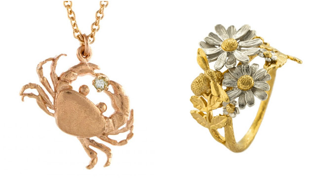 alex monroe rose gold crab necklace, gold and silver bee and daisy ring