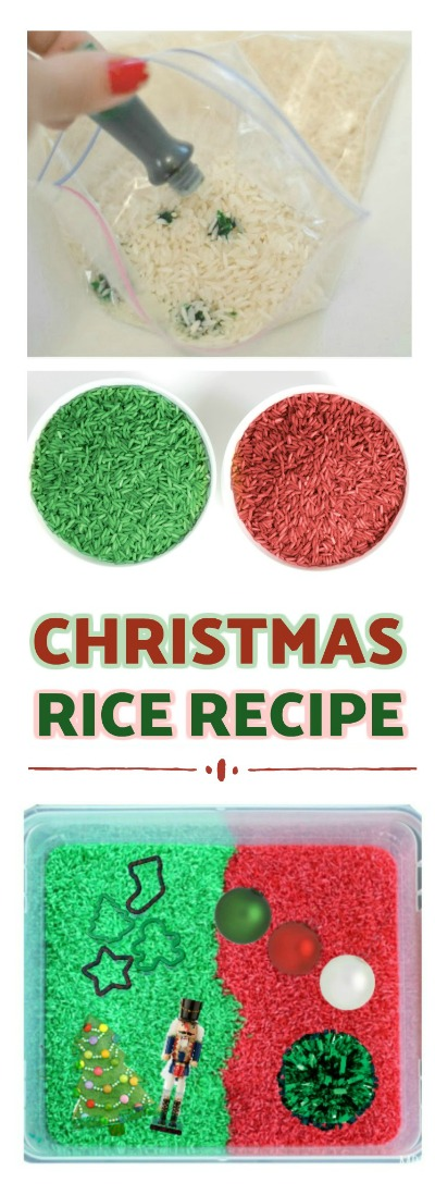 HOW TO MAKE CHRISTMAS RICE: less messy than play sand & smells just like Christmas! #christmasrecipesforkids #christmasactivitiesforkids