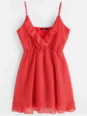 vestido rojo lunares zaful