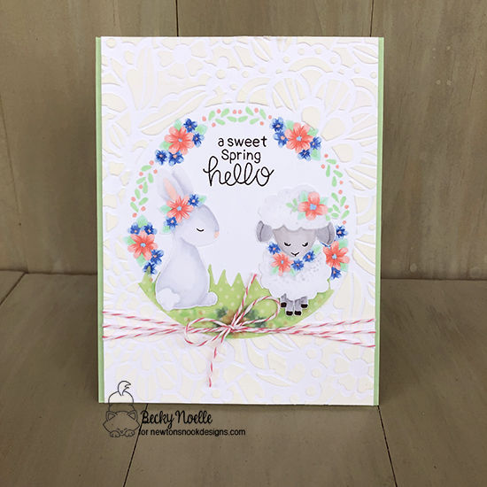 A sweet spring hello by Becky features Floral Lace, Woodland Spring, Land Borders by Newton's Nook Designs; #newtonsnook