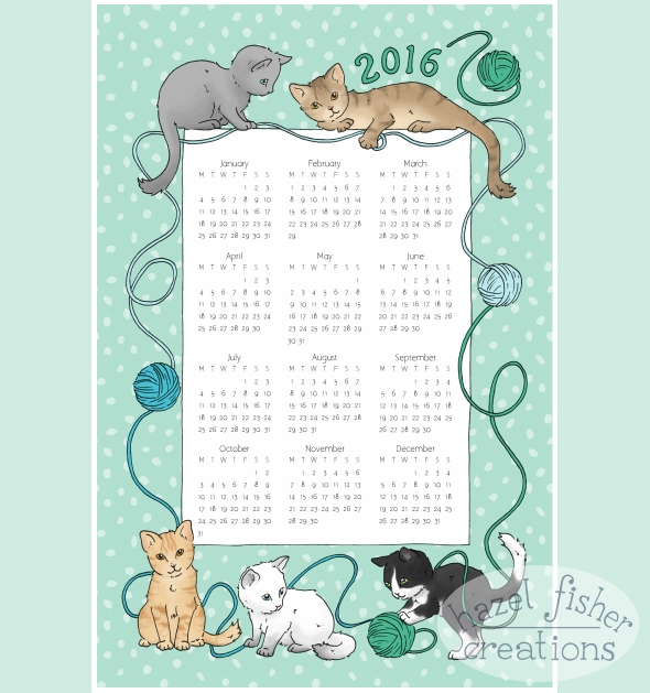 Spoonflower Contest Tea Towel Calendar 2016, cats design by hazelfishercreations