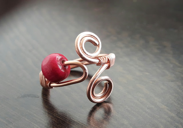 Copper ring handmade with wire with wooden bead adjustable size