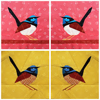 Foundation Paper Pieced Blue Fairy Wren Quilt Pattern