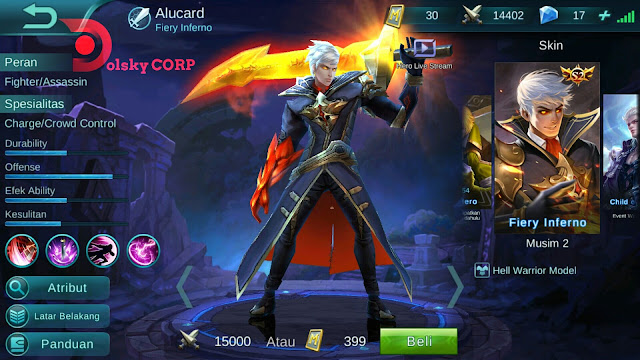 Hero Alucard ( Fiery Inferno ) High Damage Build Set up Gear