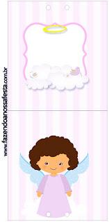 Brunette Angel Girl, Free Printable for Lollipops.