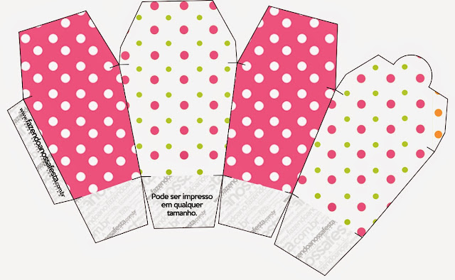 Pink, Green and White Polka Dots Free Printable Chinese Take Away Box.