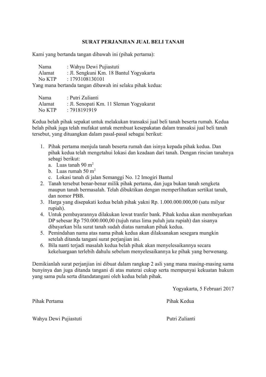 Contoh Surat Perjanjian Jual Beli Tanah Terbaru Terlengkap