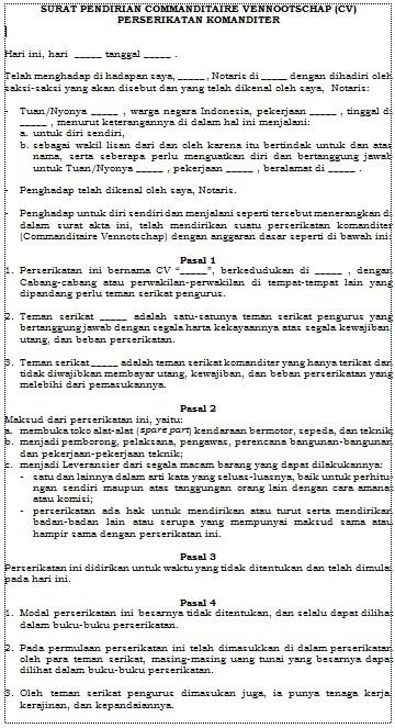 Contoh Surat Pendirian Commanditaire Vennootschap (CV) File Word