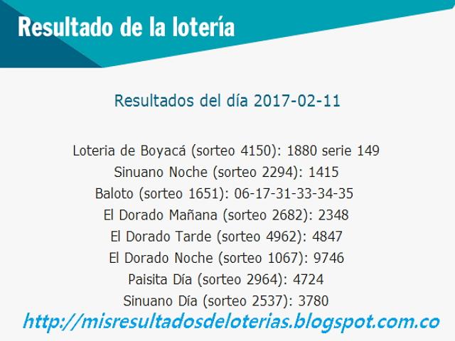 Loterias de Hoy - Resultados diarios de la Lotería y el Chance - Febrero 11 2017