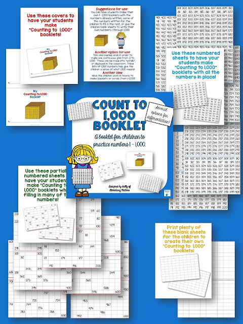 Count to 1,000 Freebie Booklet: Download this freebie and watch your student develop a deeper understanding of our number system up to 1,000, and have fun as well!
