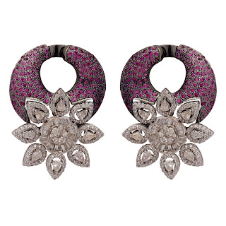 Earrings curated in 18 K Gold finished in black polished tone studded with Rubies and Diamonds by Tanya Rastogi