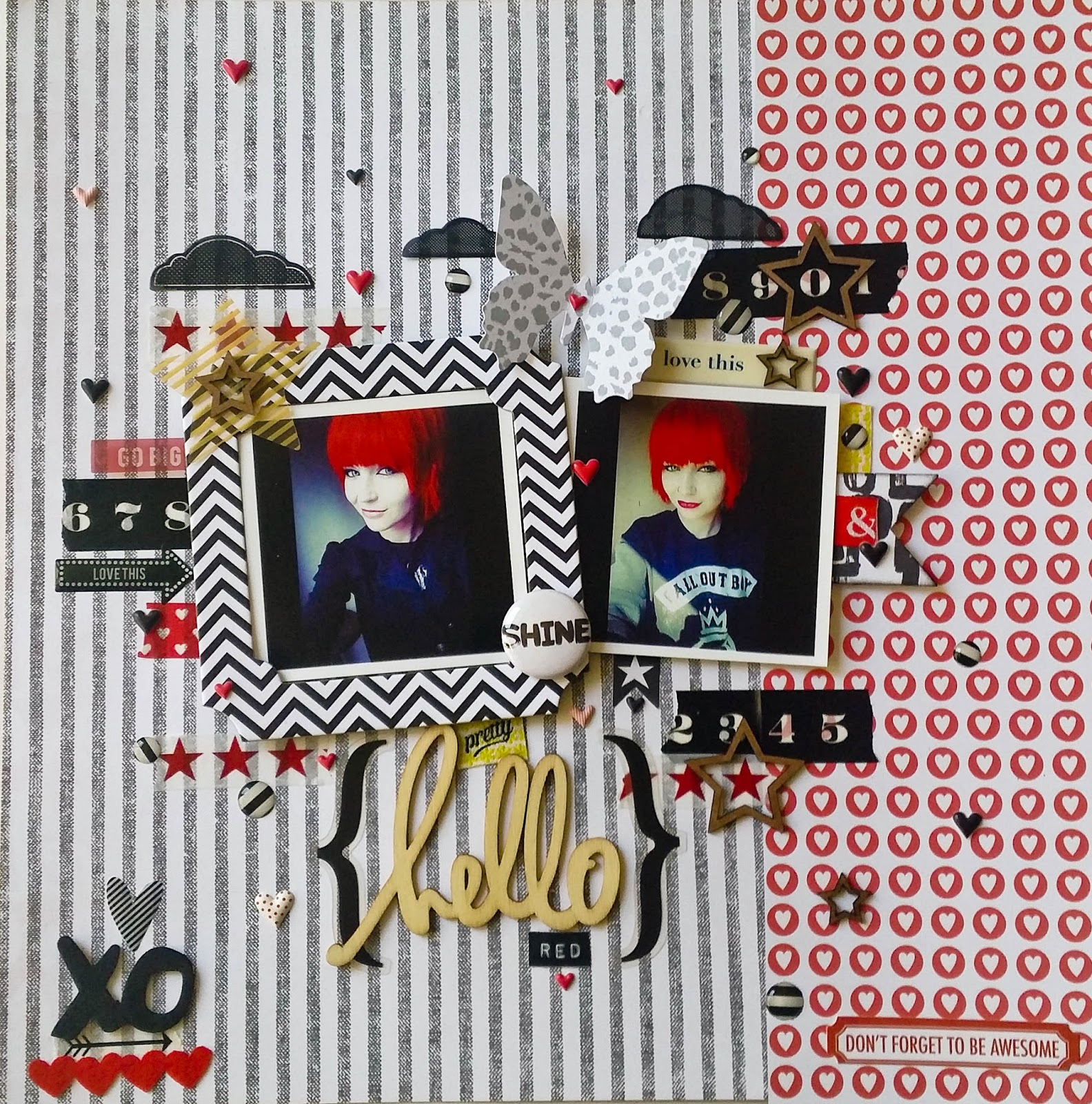 Something From Cassie: Hello Red Layout {Paper Issues