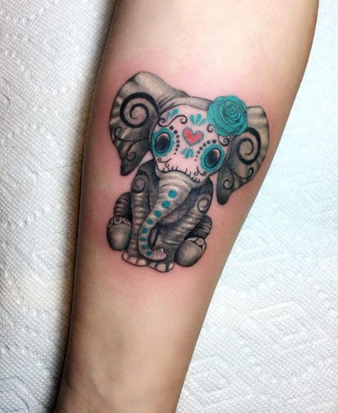 Cute Hand Elephant Tattoo