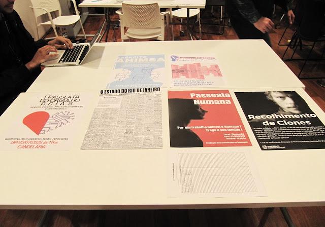 Todo da mesa com seis propostas de cartazes