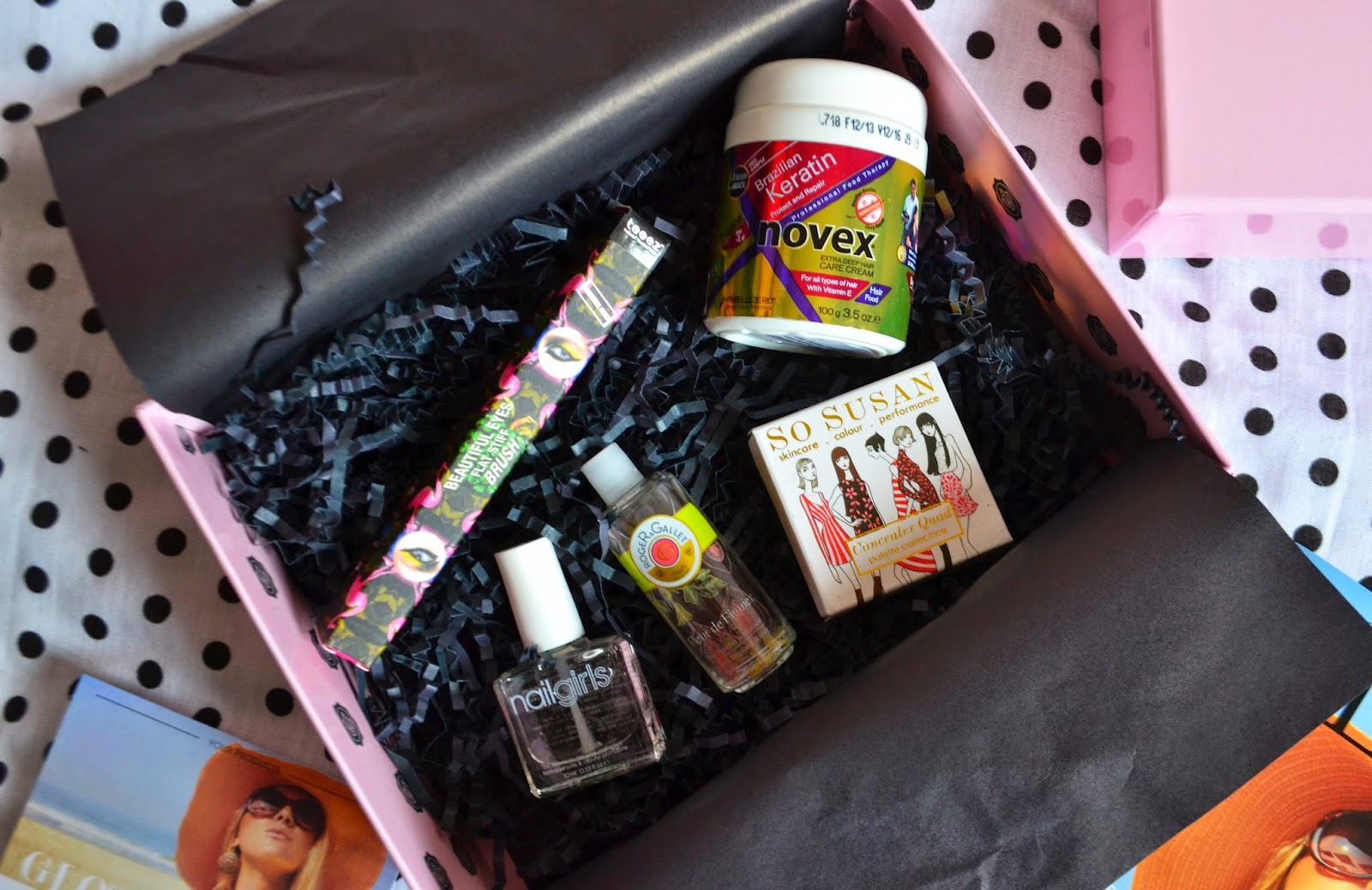 Inside the June Glossybox showing the beauty products