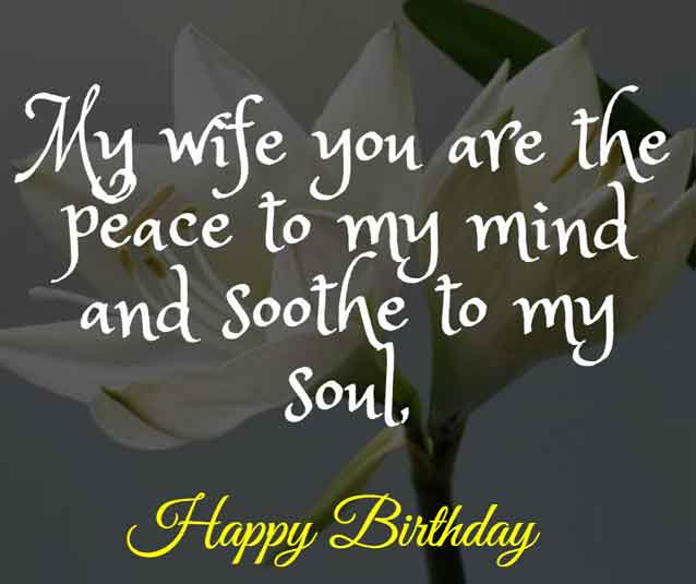 My wife you are the peace to my mind and soothe to my soul, HBD!