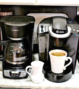 coffee makers and a coffee bar