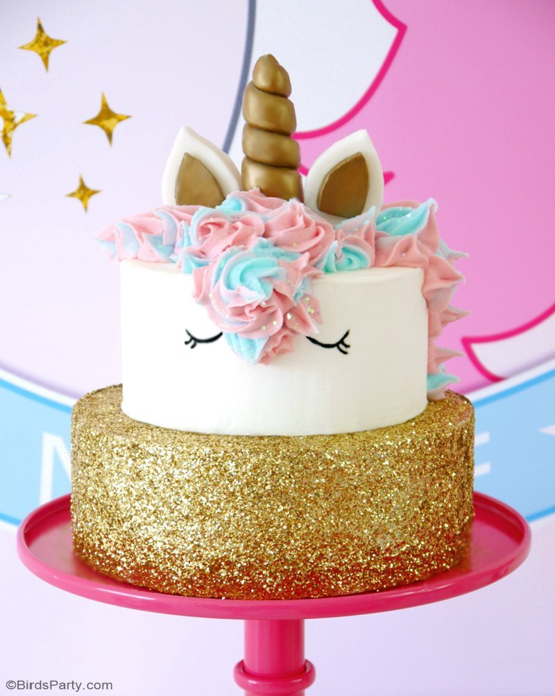 How To Make a Unicorn Birthday Cake - step-by-step tutorial recipe to make a stunning, trendy unicorn cake for your child's birthday - It's easier than it looks! by BirdsParty.com @birdsparty
