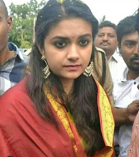Keerthy Suresh with Cute Expressions at Tirumala Temple in Tirupathi