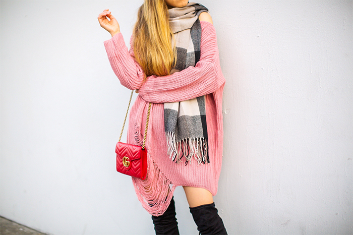 pink ripped hem sweater, check scarf, quay sunglasses, over the knee boots, Gucci wallet on the chain bag, street style, fashion blog, best cyber week sale, black Friday deals, valentino rocketed sale, chloe hudson sale