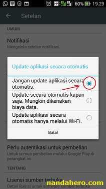 cara agar aplikasi tidak minta update