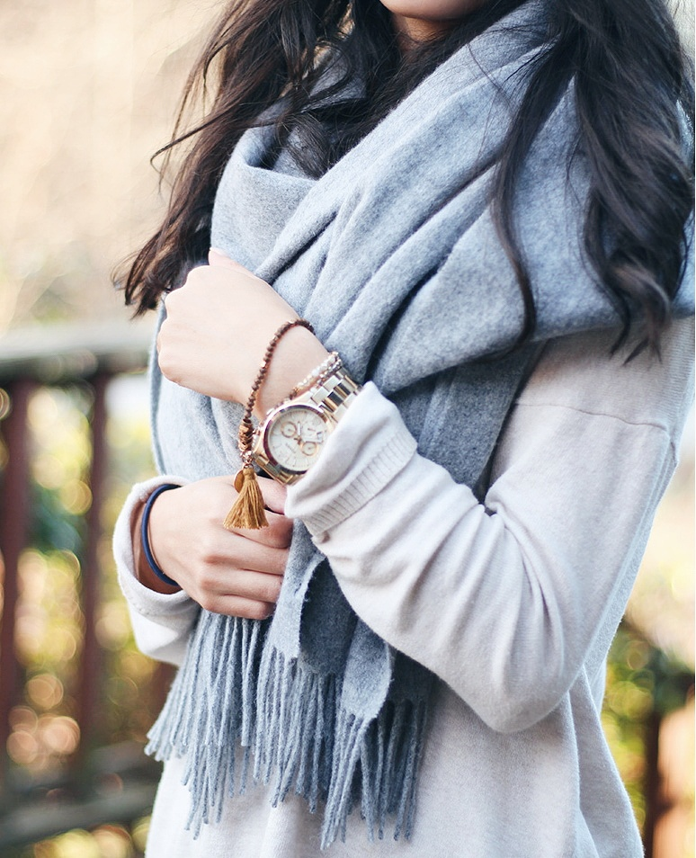 cozy fall outfits, scarves for fall, grey wool scarf outfit