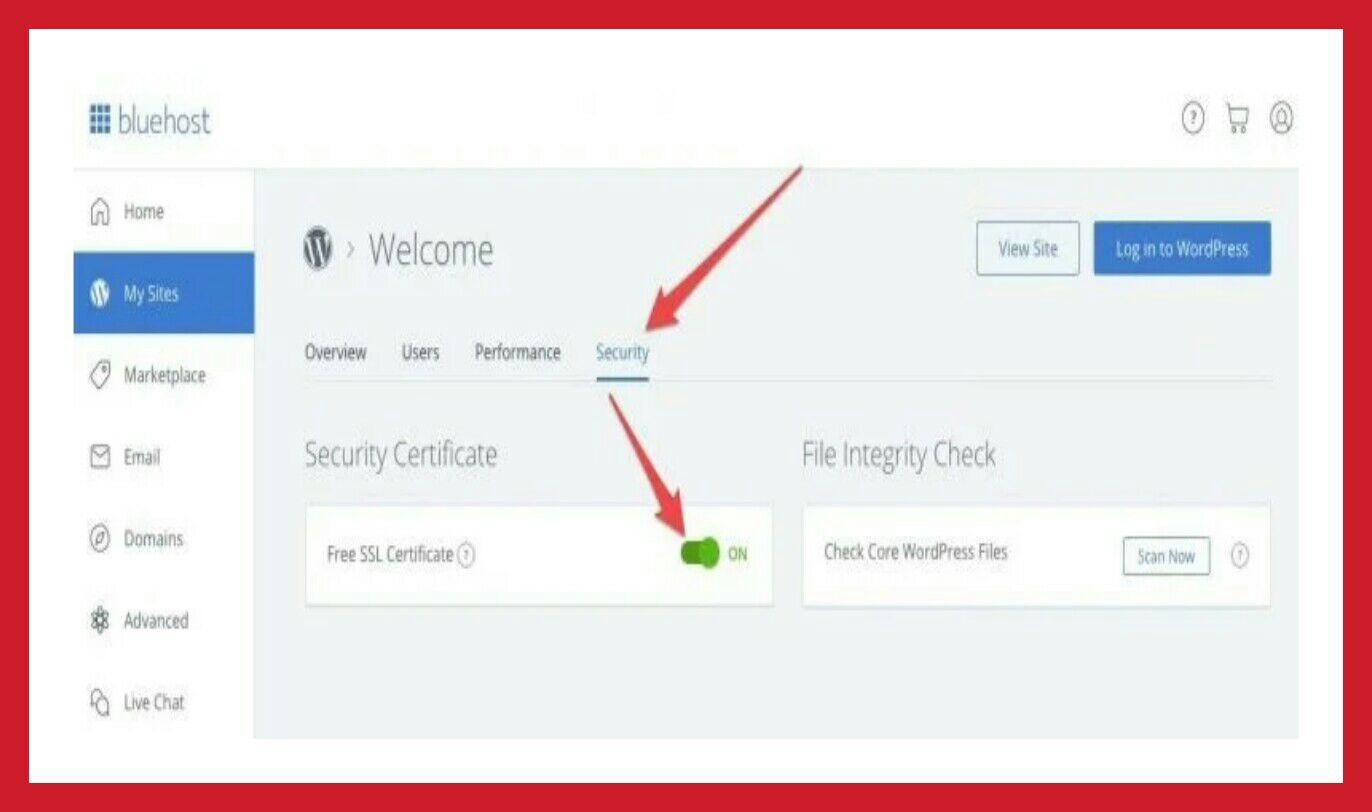 On your site SSL Certificate in bluehost panel