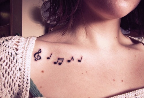 Collar Bone Music Tattoo Designs