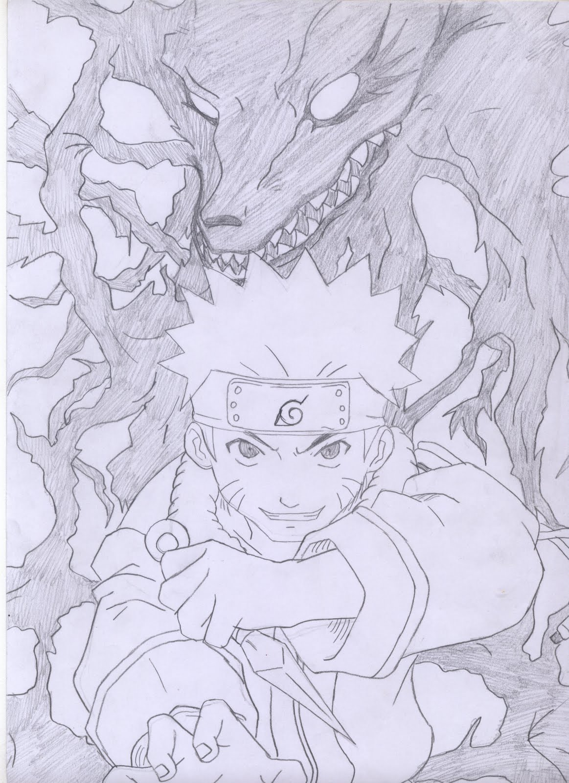 Sketsa Gambar Naruto Kyubi