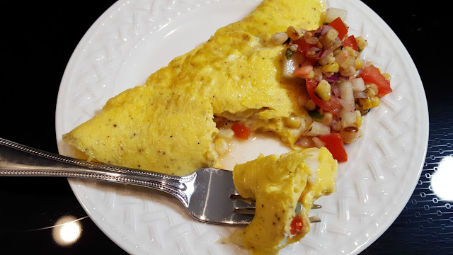Omelet with Grilled Corn and Tomato Relish